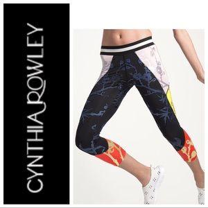 Cynthia Rowley Metallic Color Block Crop Leggings